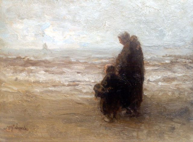 Jozef Israëls | Awaiting father's return, oil on panel, 32.7 x 44.1 cm, signed l.l.