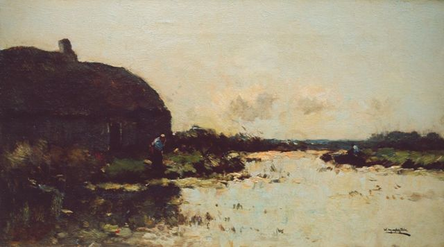 Aris Knikker | A farm near the water, oil on canvas, 25.4 x 45.4 cm, signed signed with pseudonym 'W. Markestein' l.r.