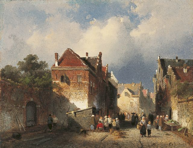 Charles Leickert | Market day, oil on panel, 19.2 x 24.6 cm, signed l.r.