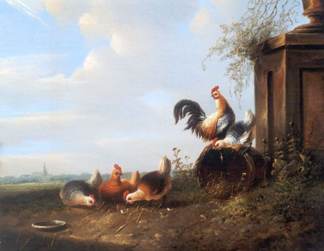 Albertus Verhoesen | Chickens and a rooster in a landscape, oil on panel, 19.6 x 23.9 cm, signed l.r.