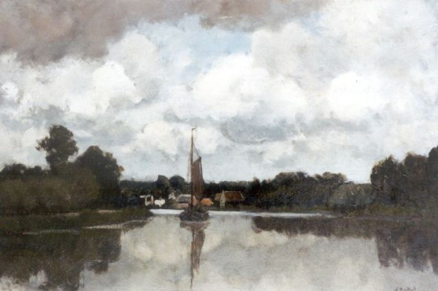 Nicolaas Bastert | Sailing ship on the Vecht, oil on canvas, 40.3 x 60.4 cm, signed l.r. and dated 1900