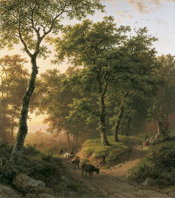 Barend Cornelis Koekkoek | A forest landscape by sunset, oil on panel, 32.6 x 29.2 cm, signed l.r. and dated 1850