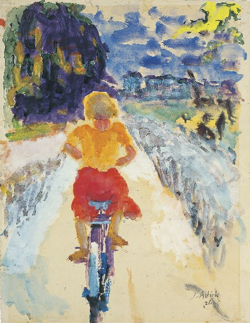 Jan Altink | Meisje op de fiets, watercolour on paper, 63.0 x 47.0 cm, signed l.r. and dated '26