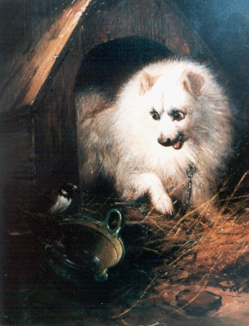 Henriette Ronner-Knip | A dog defending his meal, oil on panel, 20.3 x 16.5 cm, signed l.r. with monogram
