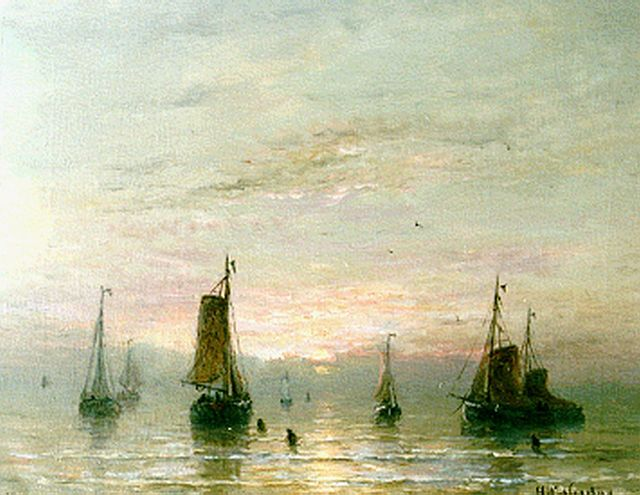 Hendrik Willem Mesdag | The departure of the fleet, oil on canvas, 40.0 x 51.2 cm, signed l.r.