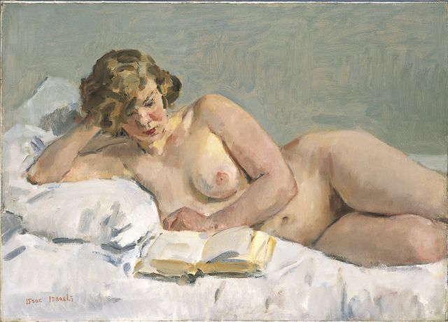 Isaac Israels | A reclining nude (Sjaantje van Ingen), oil on canvas, 72.0 x 101.0 cm, signed l.l.