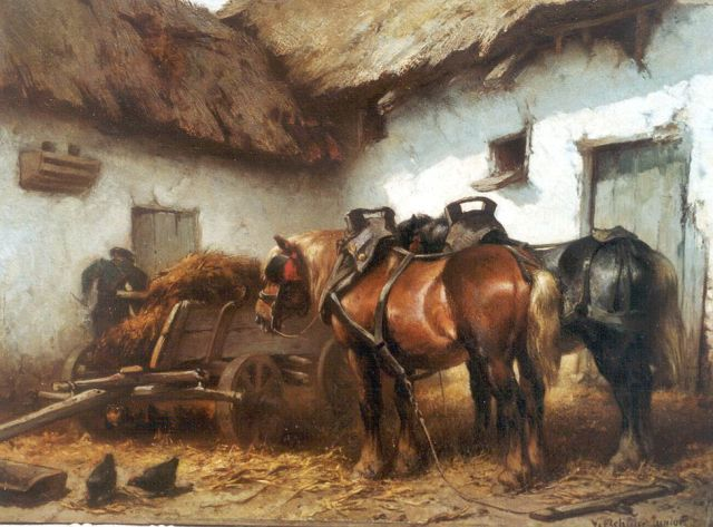 Wouter Verschuur jr. | A farmer and horses on a yard, oil on panel, 24.5 x 33.4 cm, signed l.r.
