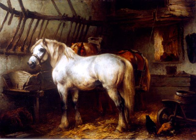 Wouter Verschuur jr. | Horses in a stable, oil on panel, 24.5 x 33.4 cm, signed l.l.