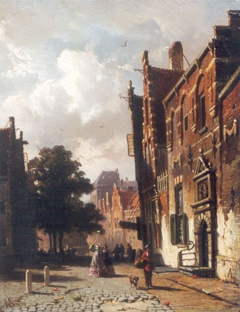 Adrianus Eversen | Figures in a sunlit street, oil on panel, 19.0 x 15.0 cm, signed l.l. and l.r. with monogram
