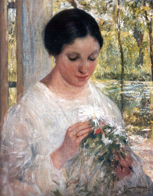 Simon Willem Maris | A young woman with a bouquet, oil on panel, 30.8 x 24.1 cm, signed l.r.