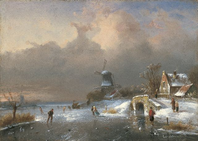 Charles Leickert | A winter landscape with skaters, oil on panel, 23.7 x 33.1 cm, signed l.r.