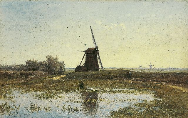 Paul Joseph Constantin Gabriel | A view of the 'Oostzijdse Molen aan het Gein' Abcoude, oil on canvas, 28.8 x 46.1 cm, signed l.l.