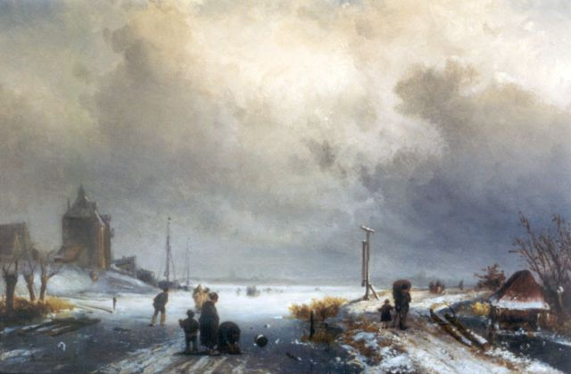 Charles Leickert | Winter landscape (added staffage by J.H.B. Koekkoek), oil on panel, 31.2 x 45.6 cm, signed l.l.