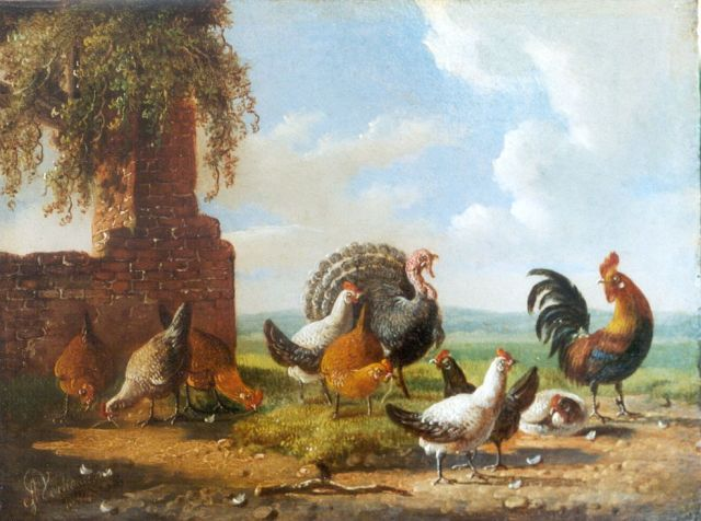 Albertus Verhoesen | A rooster, chickens and a turkey in a landscape, oil on panel, 13.1 x 17.3 cm, signed l.l. and dated 1854