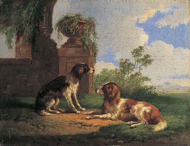 Albertus Verhoesen | Two retrievers in a classical landscape, oil on panel, 13.0 x 16.9 cm, signed l.l. and dated 1865