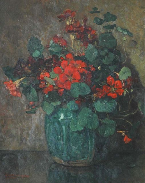 Johannes Evert Hendrik Akkeringa | Nasturtium, oil on canvas, 48.9 x 39.9 cm, signed l.l.