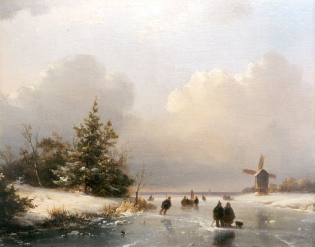 Lodewijk Johannes Kleijn | A winter landscape with skaters on the ice, oil on panel, 18.8 x 23.8 cm, signed l.l.