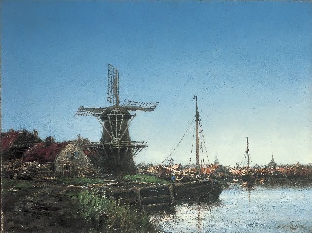 Hermanus Koekkoek jr. | A harbour with a windmill, oil on canvas, 45.8 x 61.1 cm, signed l.r. with pseudonym 'J. van Couver'