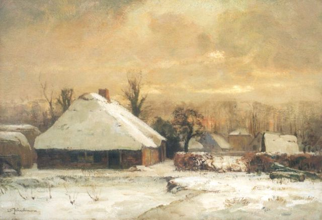 David Schulman | Snow-covered farms by sunset, Blaricum, oil on canvas, 47.2 x 67.4 cm, signed l.l.