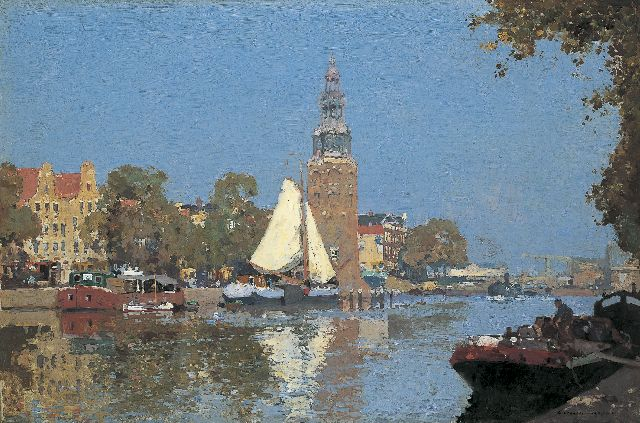 Cornelis Vreedenburgh | A view of the Oude Schans, with the Montelbaanstoren beyond, Amsterdam, oil on canvas, 60.3 x 90.0 cm, signed l.r. and dated 1921