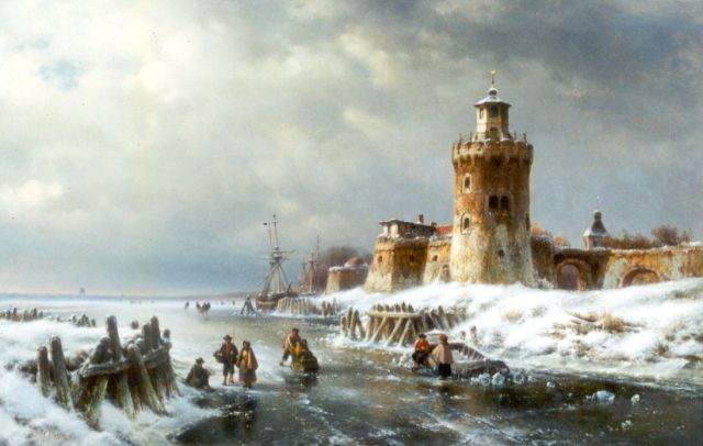 Lodewijk Johannes Kleijn | Skaters on the ice by a fortified town, oil on panel, 66.5 x 102.3 cm, signed l.l.
