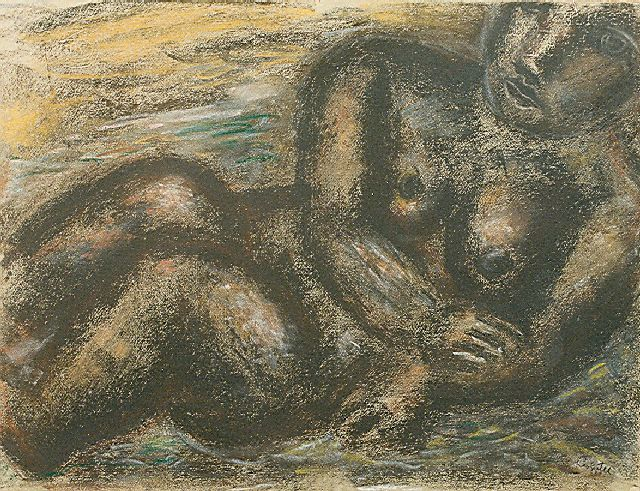 Leo Gestel | Nude, charcoal and pastel on paper laid down on board, 49.0 x 64.0 cm, signed l.r. and dated '31