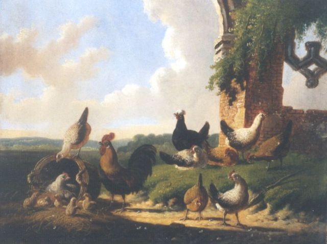 Albertus Verhoesen | Poultry in a classical landscape, oil on panel, 18.2 x 23.7 cm, signed c.l. and dated 1874