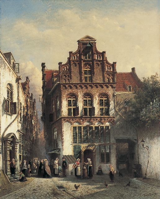 Petrus Gerardus Vertin | Daily activities in a Dutch town, oil on canvas, 74.9 x 60.2 cm, signed l.r. and dated '66
