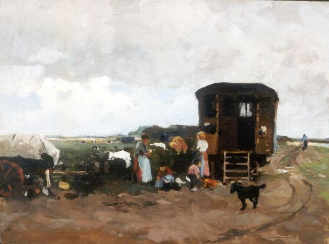 Cornelis Vreedenburgh | Figures by a caravan, oil on panel, 31.7 x 42.2 cm, signed l.r. and dated '07