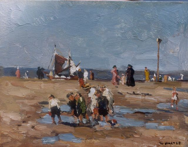 Cor Noltee | A sunny day on the beach, oil on painter's cardboard, 18.8 x 24.1 cm, signed l.r.