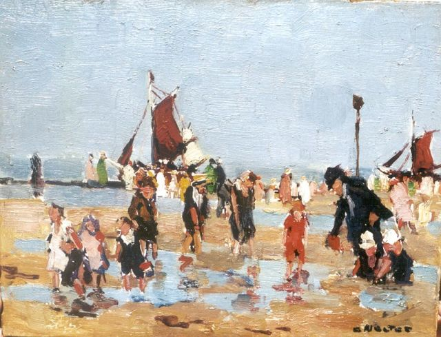 Cor Noltee | Paddling children, oil on painter's cardboard, 19.0 x 24.2 cm, signed l.r.