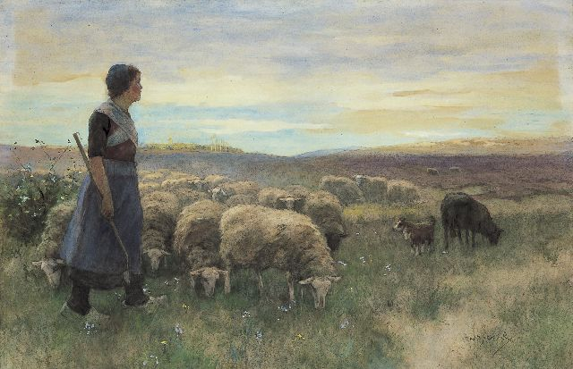 Willem Steelink jr. | A shepherdess and flock on the heath, watercolour on paper, 68.0 x 102.0 cm, signed l.r.
