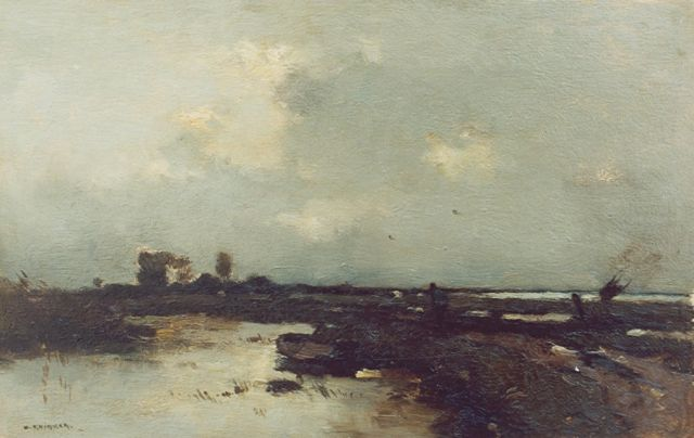 Aris Knikker | A view of the Nieuwkoopse plassen, oil on panel, 24.2 x 37.0 cm, signed l.l.