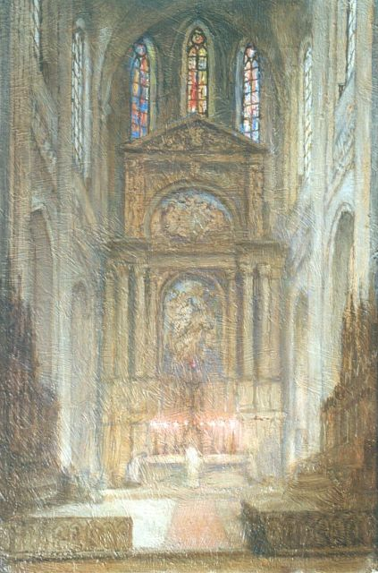Ko Cossaar | A church interior, oil on canvas, 40.5 x 27.0 cm, signed l.l.