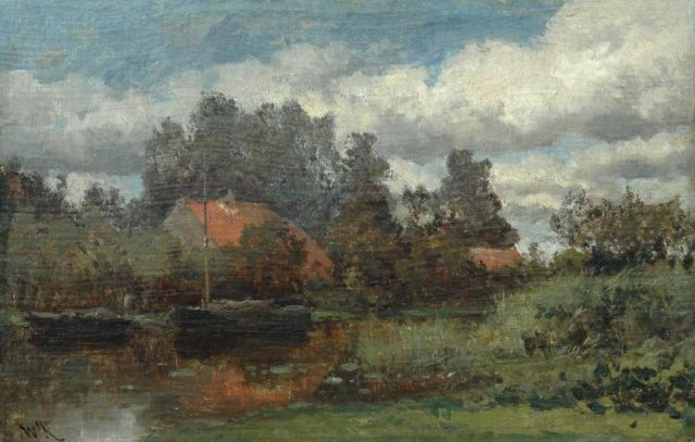 Roelofs W.  | Polder landscape between Abcoude and Weesp, oil on canvas laid down on panel, 26.9 x 41.8 cm