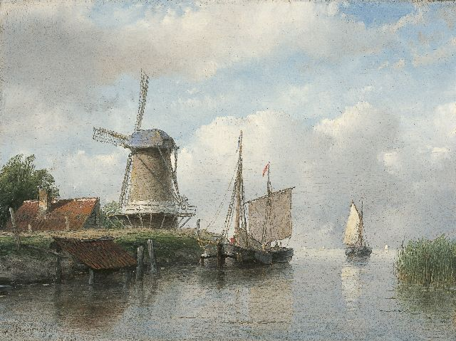 Andreas Schelfhout | Moored sailing vessels by a windmill, oil on panel, 16.8 x 22.4 cm, signed l.l. and painted between 1843-1858