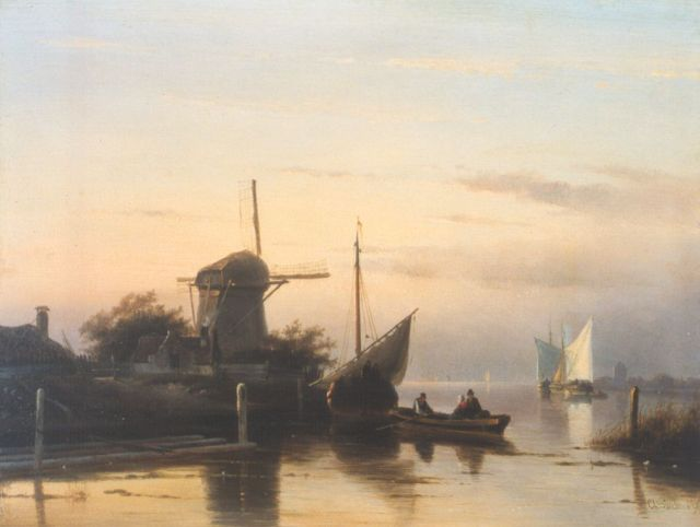 Charles Leickert | A barge departing, oil on panel, 24.8 x 32.7 cm, signed l.r.