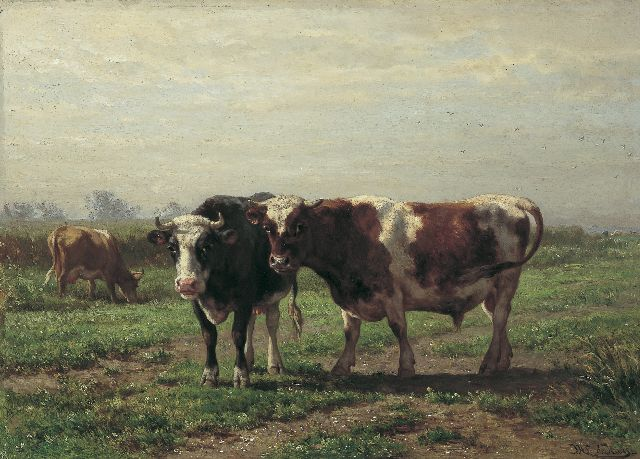 Jan de Haas | In the meadow, oil on panel, 44.6 x 63.0 cm, signed l.r. and dated 1869 on reverse