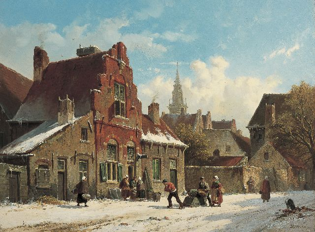 Adrianus Eversen | A snow-covered Dutch town, oil on panel, 31.7 x 42.7 cm, signed l.r. and on the reverse on traces of label