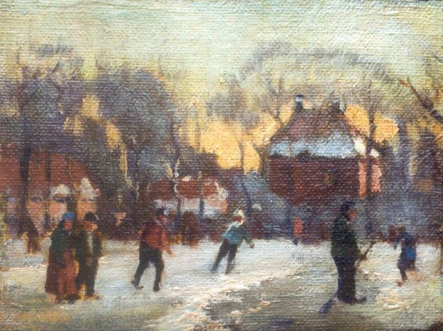 Willem Klijn | Skaters on the ice, oil on canvas laid down on panel, 11.0 x 14.2 cm