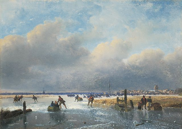 Nicolaas Johannes Roosenboom | Skaters on the ice near Dordrecht, oil on panel, 35.1 x 49.6 cm, signed l.r. and executed in the late fifties or sixties