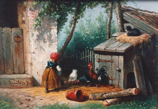 Jan Gerard Smits | Feeding the chickens, oil on panel, 14.0 x 19.5 cm, signed l.l. and dated '59