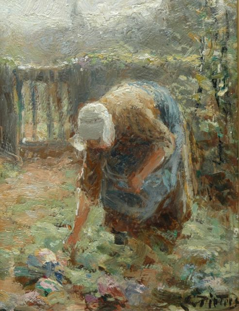 Evert Pieters | A farmer's wife at work (counterpart of inventory number 7485), oil on panel, 16.0 x 12.0 cm, signed l.r.