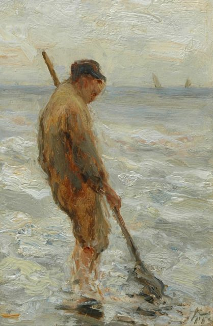 Evert Pieters | Gathering shells (counterpart of inventory number 7484), oil on panel, 16.0 x 10.3 cm, signed l.r.