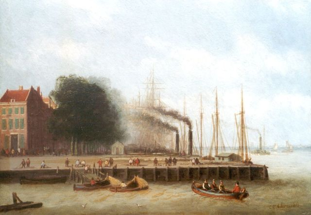 Carl Eduard Ahrendts | A view of the 'Boompjes', Rotterdam, oil on panel, 16.1 x 22.8 cm, signed l.r.