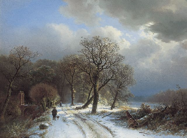 Barend Cornelis Koekkoek | Travellers in a winter landscape, oil on panel, 37.0 x 50.5 cm, signed l.r. and dated 1834