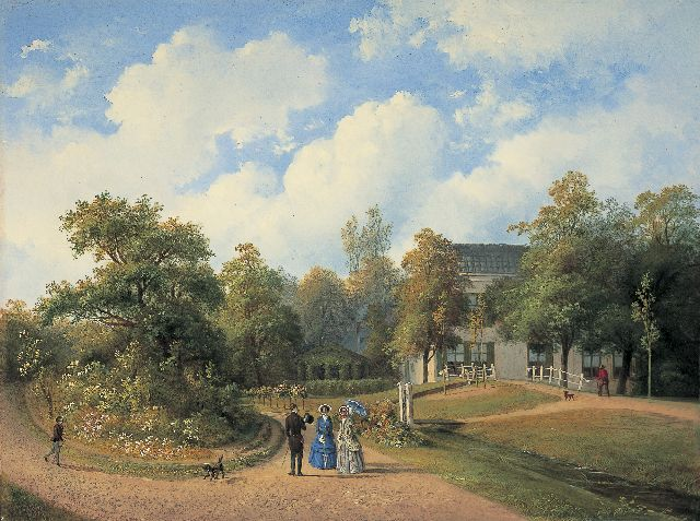Paul Joseph Constantin Gabriel | Country estate 'Leeuw en Hoofd', Heemstede, oil on panel, 32.8 x 43.7 cm, signed l.l. and dated 1851
