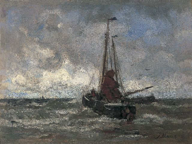 Jacob Maris | 'Bomschuit' in the surf, oil on canvas, 23.8 x 31.4 cm, signed l.r.