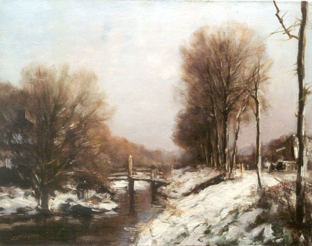 Louis Apol | A view of a draw-bridge in winter, oil on canvas, 39.1 x 50.0 cm, signed l.l.
