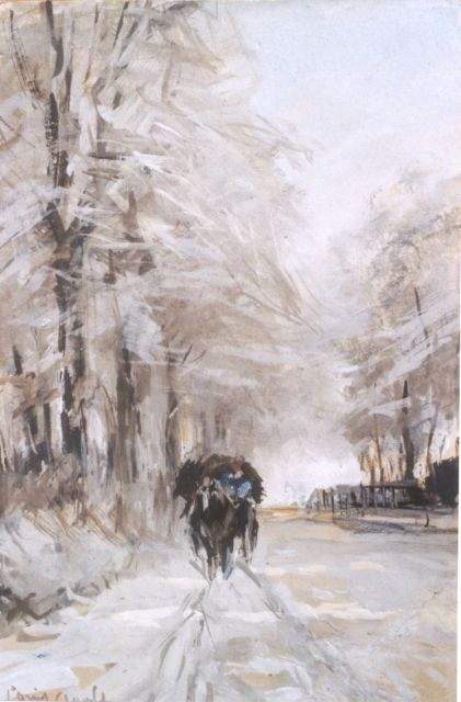 Louis Apol | A horse-drawn cart in winter, gouache on paper, 16.9 x 11.2 cm, signed l.l.